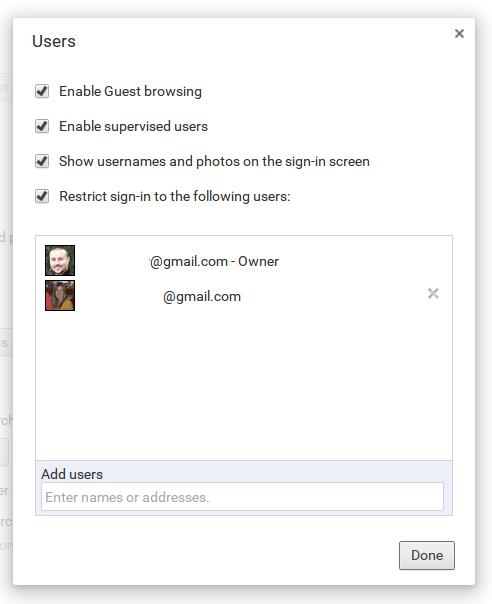 Chromebook user management