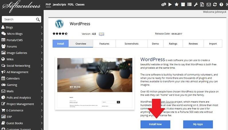 dwizzywid media cpanel softaculous install wordpress