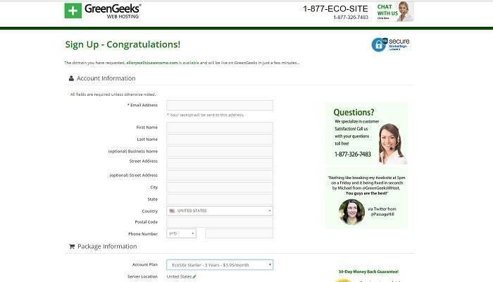 greengeeks signup page