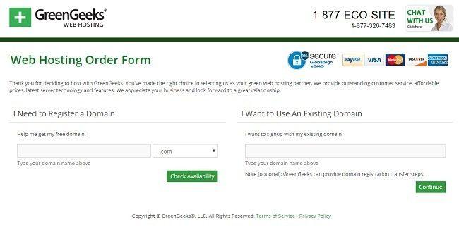 greengeeks web hosting order form