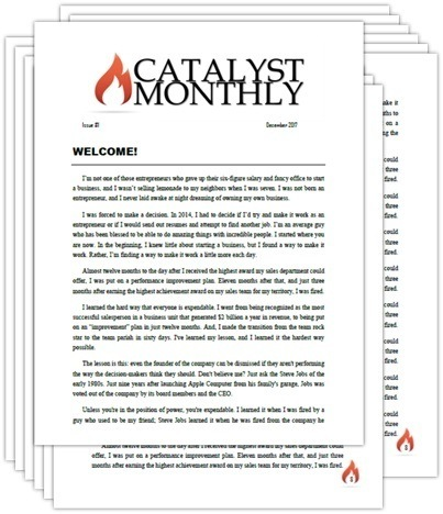 Catalyst monthly newsletter screenshot stack
