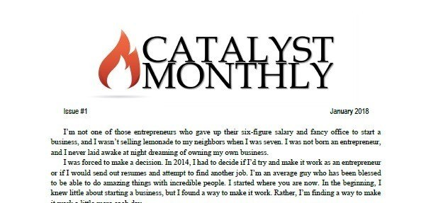 Catalyst monthly newsletter screenshot