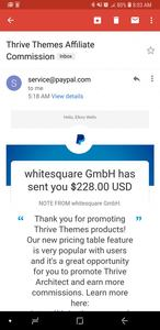 thrive themes affiliate commission payout