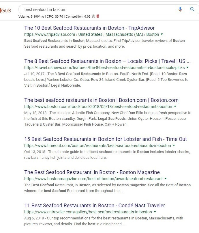 google search results best seafood in boston