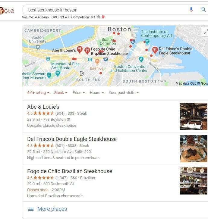 google search results best steakhouse in boston